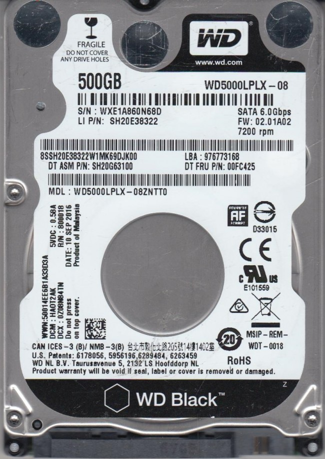 "500GB Western Digital Black WD5000LPLX 100/% Health HDD 2.5/"" Laptop Hard Drive"